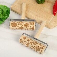Cake-Dough-Roller Embossing-Wood-Rolling-Pin Kitchen-Baking-Tool Helping-Decor Christmas