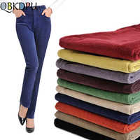 Mom-pantalones de pana holgados de talla grande para mujer, pantalón negro de cintura alta, rectos, de algodón, para otoño e invierno, 2019