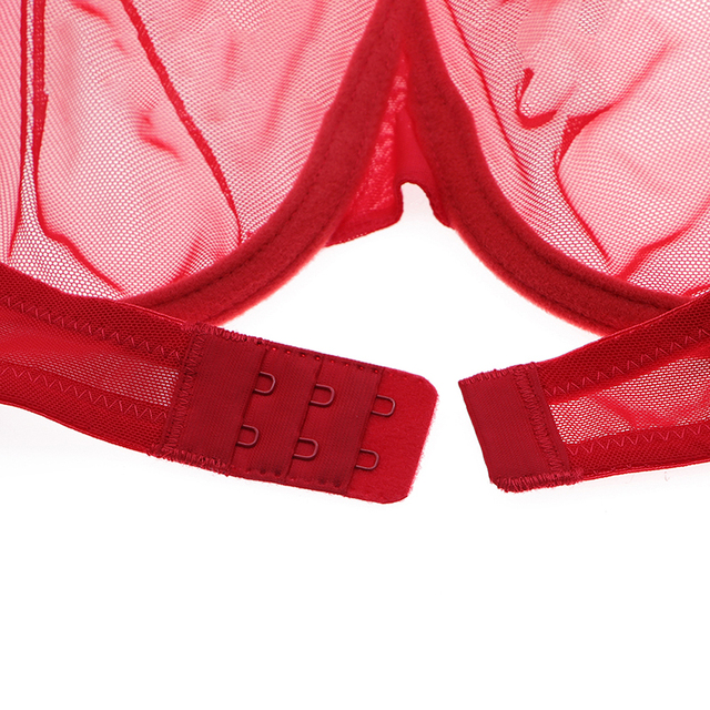 Varsbaby sexy 3/4 cup big red see-through underwear transparent breathable large size bras