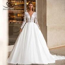 SWANSKIRT Vintage Phối Ren Váy Cưới 2020 Cổ Chữ V Tay Dài Chữ A Tàu Công Chúa Tùy Chỉnh Áo Dài Cô Dâu Đầm Vestido De Novia I322