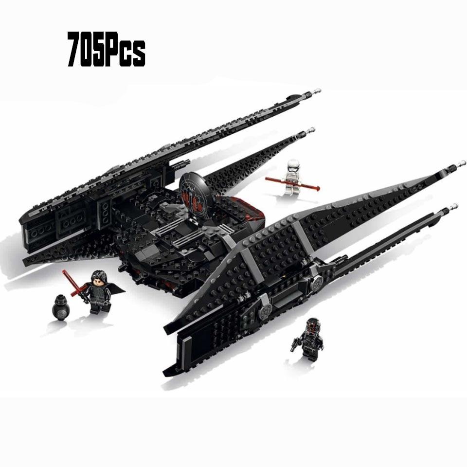 10907 705pcs Star Wars Kyloes Ren Tie Fighters Block Brick Lepining Starwars Figures Toy For Children Weapon Christmas Gift