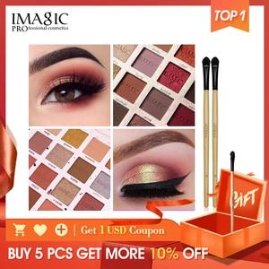 Image 1 - IMAGIC модные тени для век Палитра 16 цветов матовые тени для век Палитра стойкий макияж телесный косметический набор для макияжа отправка кисти