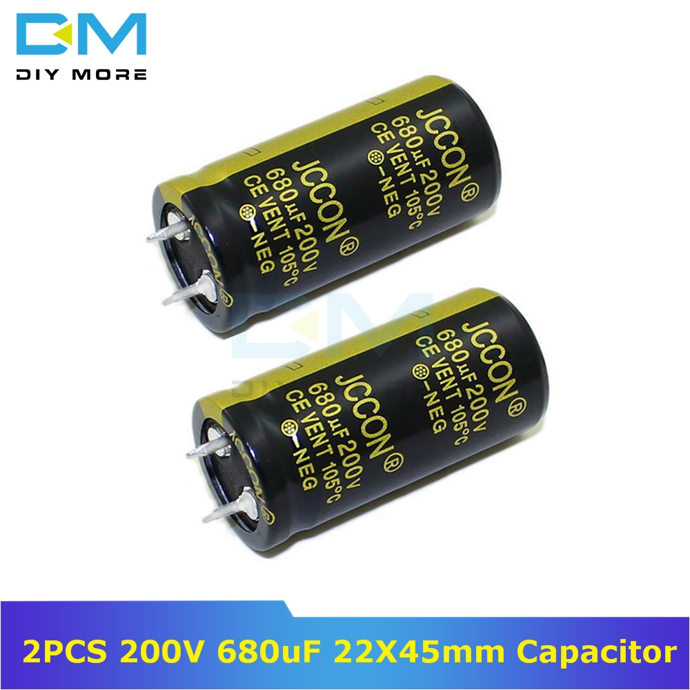 2PCS 200V 680uF 22X45mm 22X45 Aluminum Electrolytic Capacitor High Frequency Low Impedance Through Hole Capacitor Size 22*45mm