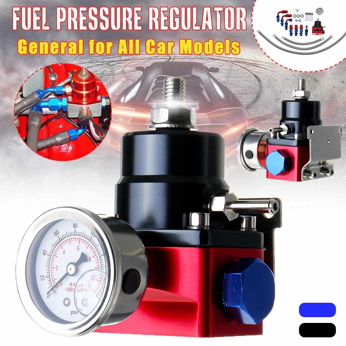 Universel voiture véhicule régulateur de pression de carburant FPR Kit 6AN AN6 tuyau raccords huile 0-100psi jauge noir rouge