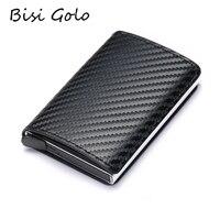 BISI GORO 2019 Mode Credit Card Houder Carbon Fiber Kaarthouder Aluminium Slanke Korte Kaarthouder RFID Blocking Card Portemonnee