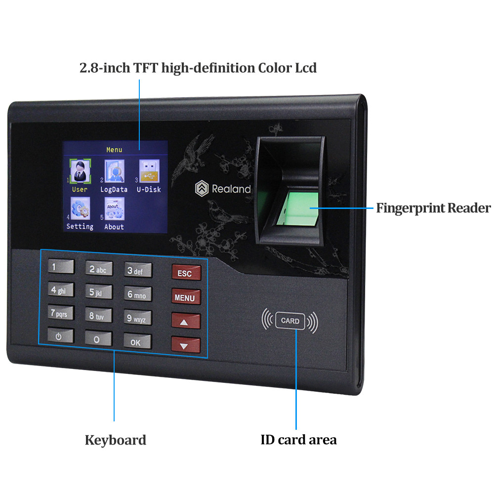 2.8inch Realand TCP/IP/USB RFID Reader Biometric Fingerprint Attendance Machine Time Card locker TCP/IP/USB Employee Check-in