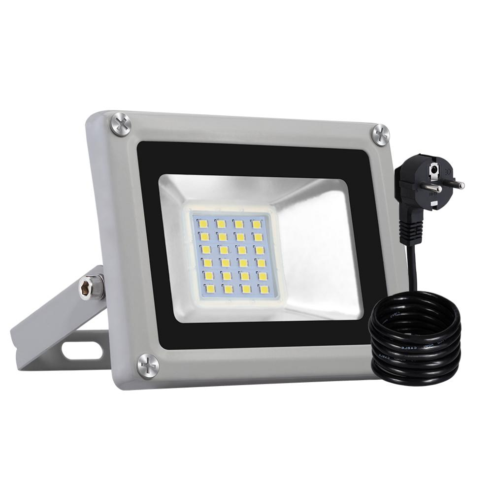 <font><b>20W</b></font> <font><b>LED</b></font> <font><b>Floodlight</b></font> SMD Outdoor Lamp With EU Plug Cool White image