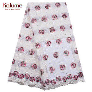 Kalume New Arrival African Lace Fabric Latest Nigerian Swiss Cotton Lace Fabric With Stones Voile Laces For Sewing Party F1873(China)
