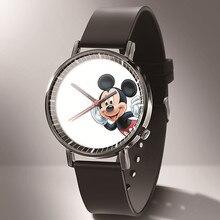 Relogio New Anime Cartoon Kids Watch Reloj Fashion Black Leather Ultra-Thin Mickey Dial Ladies Dress Quartz Watch Gift +% D0% A7% D0% B0% D1% 81% D1% 8B