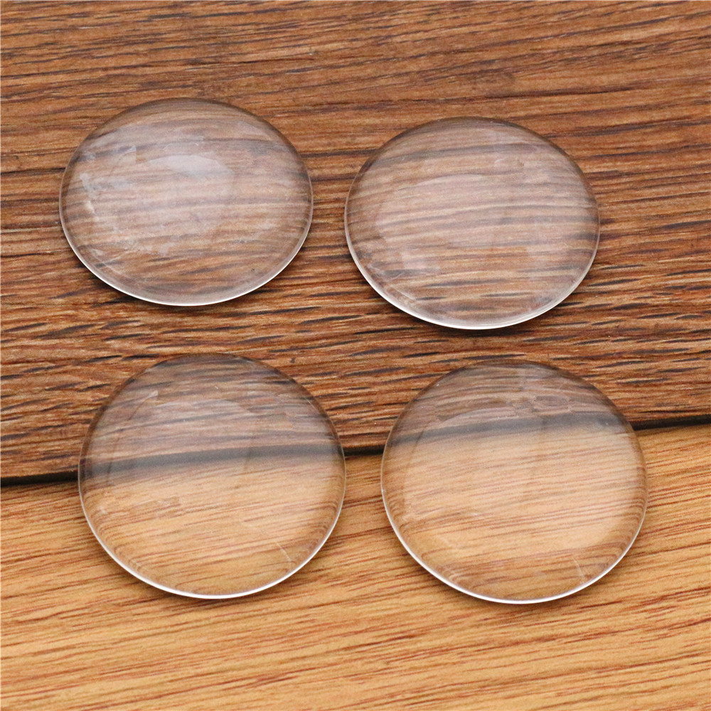 6pcs/lot 30mm Round Flat Back Clear Glass Cabochon, High Quality, Lose Money Promotion!!!(Z2-10)