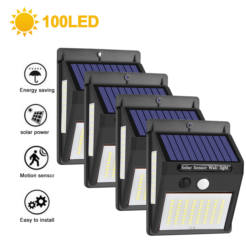 100LED Solar Light Outdoor Solar Lamp PIR Motion Sensor Wall Light Waterproof Solar Powered Lights For Garden Decoration