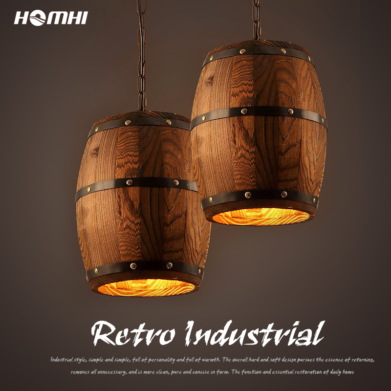 American Cask Retro Rustic Loft Pendant Light Industrial Hanging Light Fixture Oak Wooden Cellar Deco Vintage Lamps Loft Style