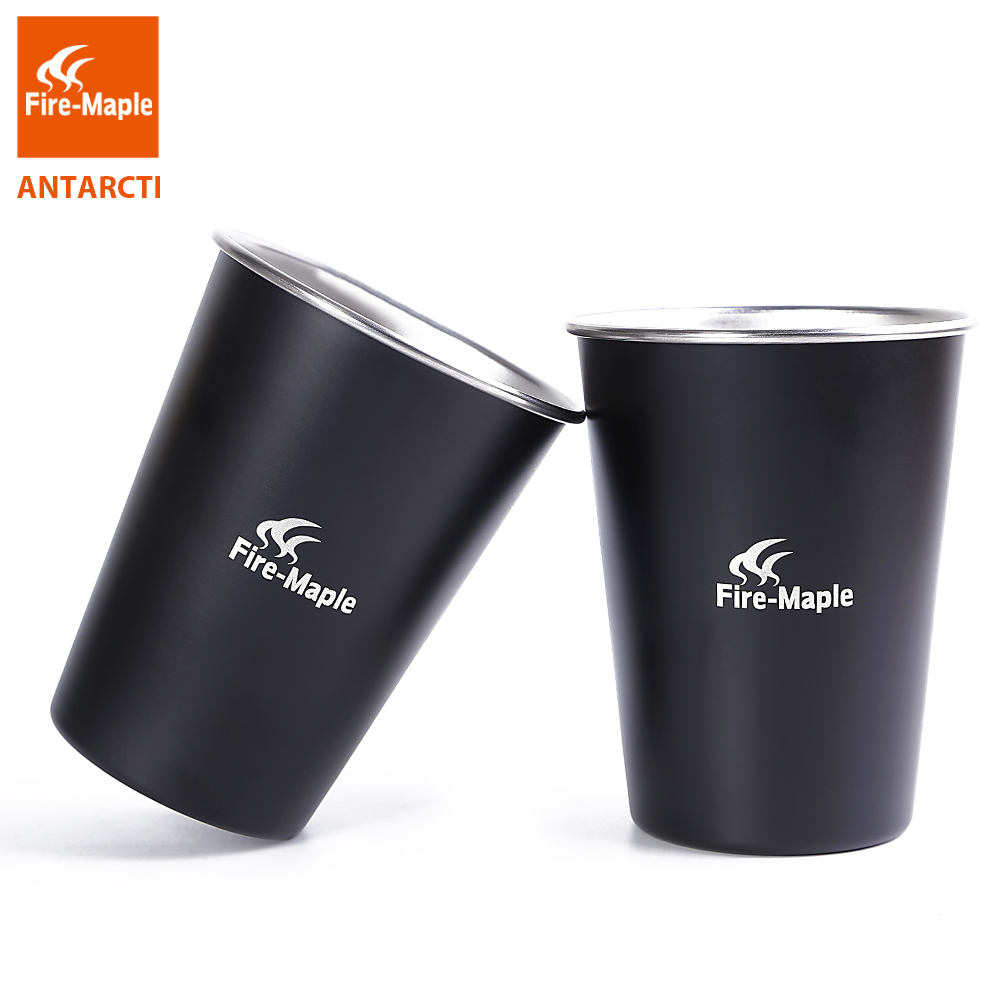 Fire Maple Outdoor Camping Mug 2 Pcs Antarcti Stainless Steel Cup Hiking Climbing Travel Silver  Black 123.5g 350ml