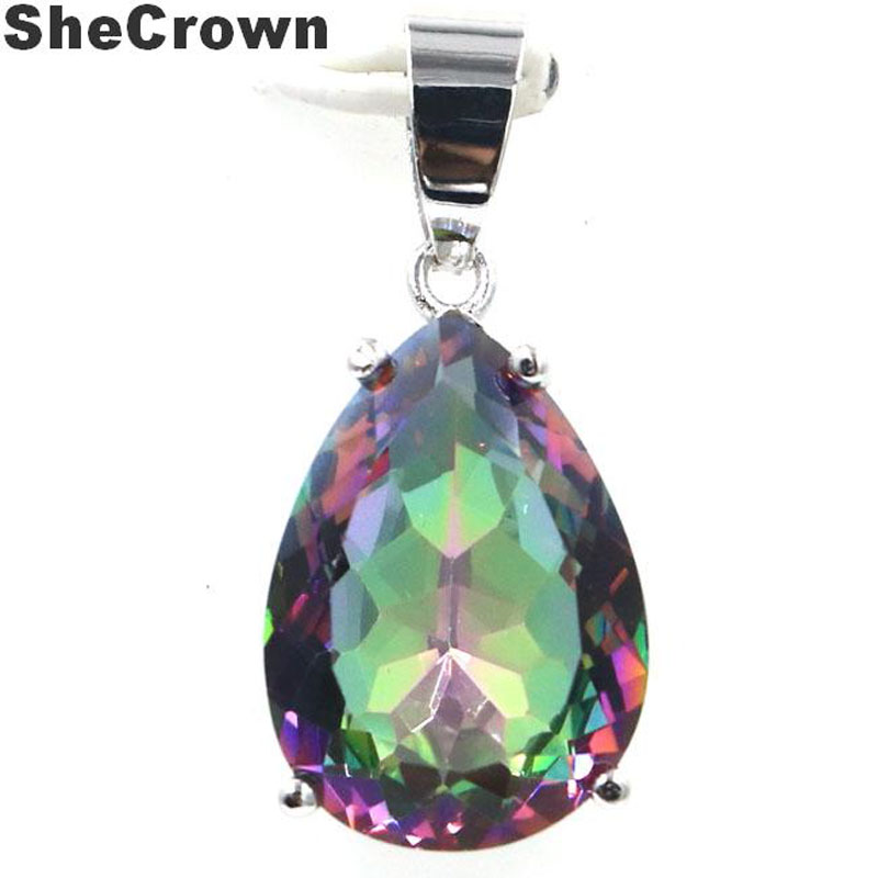 27x13mm Pretty 18x13 Drop Shape Fire Rainbow Mystic Topaz Gift For Girls 925 Silver Pendant