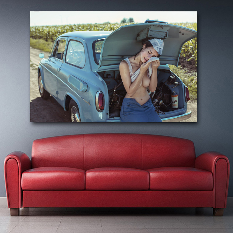 Sexy Woman with Retro Car Girl Chest Model Outdoor Photo Wall Art Posters Canvas Prints silk paintings For Living Room Decor 3