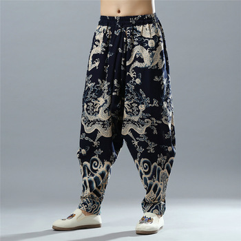 Men Yoga Pant Linen Chinese Traditional Loose Bloomers male Running Jogging Fitness Workout Casual Trouser Sweatpant Sportswear summer men yoga pant sweatpants linen printing wide leg loose bloomers baggy jogger exercise gym running casual pant sportswear