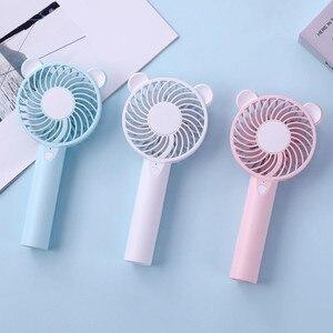 Image 2 - Bär Luft Fan Nette Cartoon Handheld USB Aufladbare Fans LED Licht Tragbare Luftkühlung Fan Mini Ventilador portátil Desktop