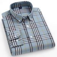 Long Sleeve Plaid Striped Pocketless Oxford Shirts 1