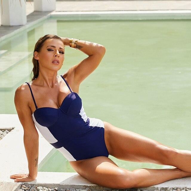 Frauen Badeanzug Push-Up  Blau Verstellbare Riemen Sommer Strand 5