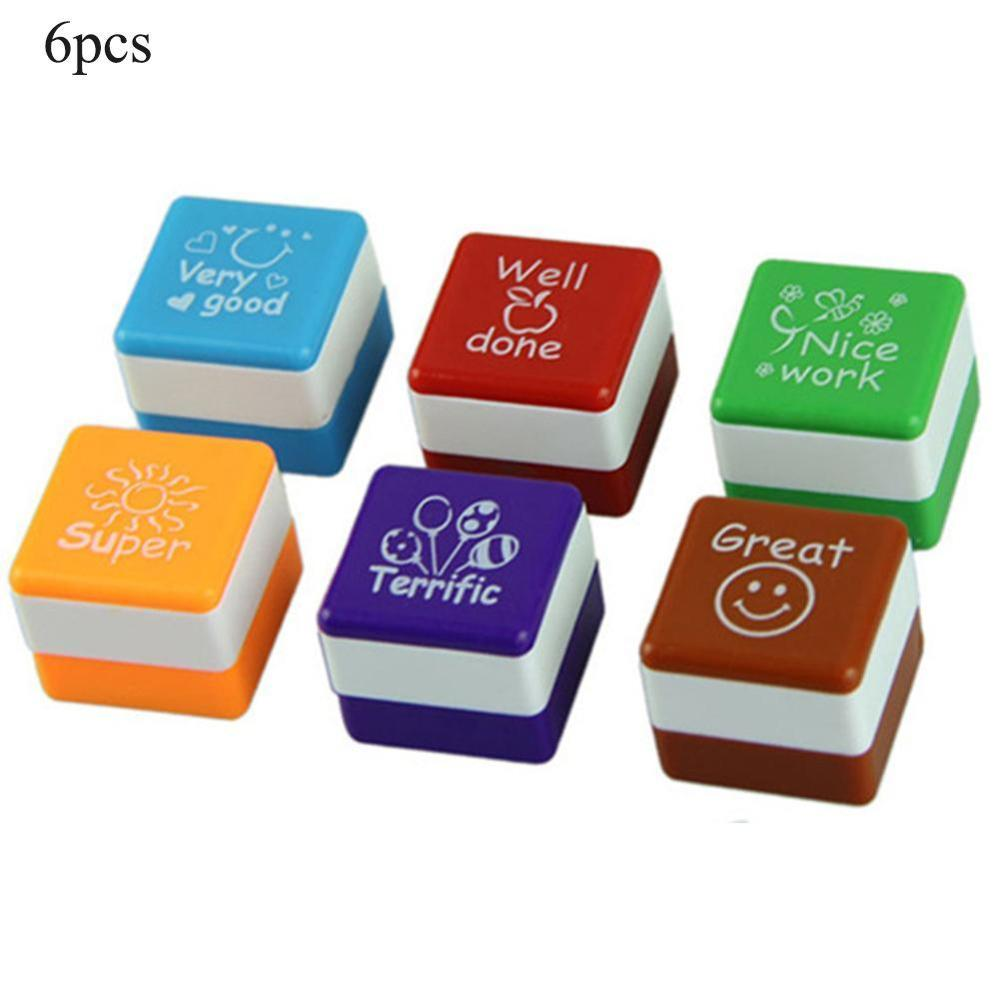 6pc/set Kindergarten Teachers Reward Stamper Children School Motivation Praise Reward Stamps Sticker DIY English Words Kids Toys
