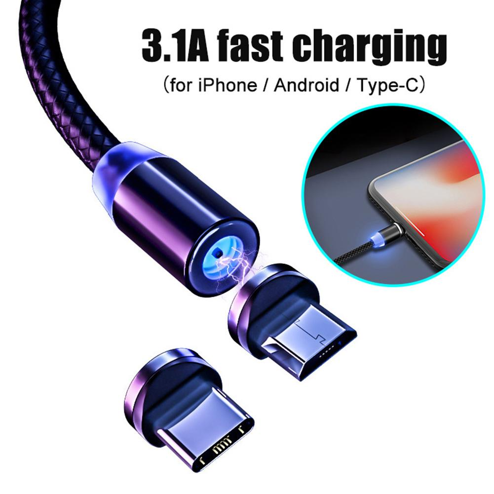1/2m 3.1A Micro USB Type-C Magnetic Fast Charging Data Cable  Mobile Phone Charging Cable For Android IPhone