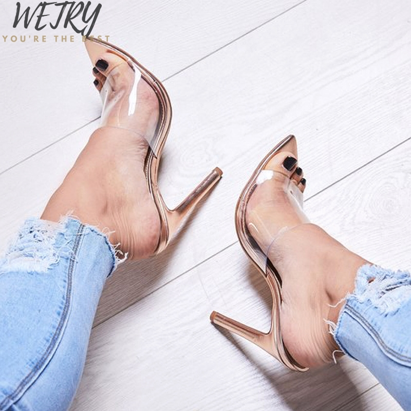 Transparent Pumps Heel Stilettos Party-Shoes Perspex Point Womens Sandals Clear Toes