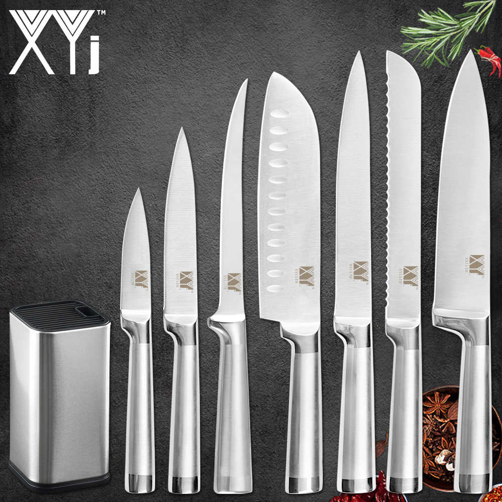 XYj Kitchen 8pcs Stainless Steel Knives Set 8 inch Knife Stand Boning Santoku Knives Fish Sushi Japanese Style Cooking Tools