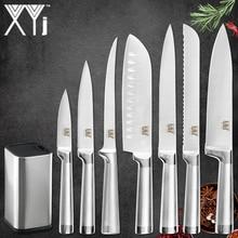 XYj mutfak 8 adet paslanmaz çelik bıçak seti 8 inç bıçak standı Boning Santoku bıçaklar balık suşi japon tarzı pişirme araçları