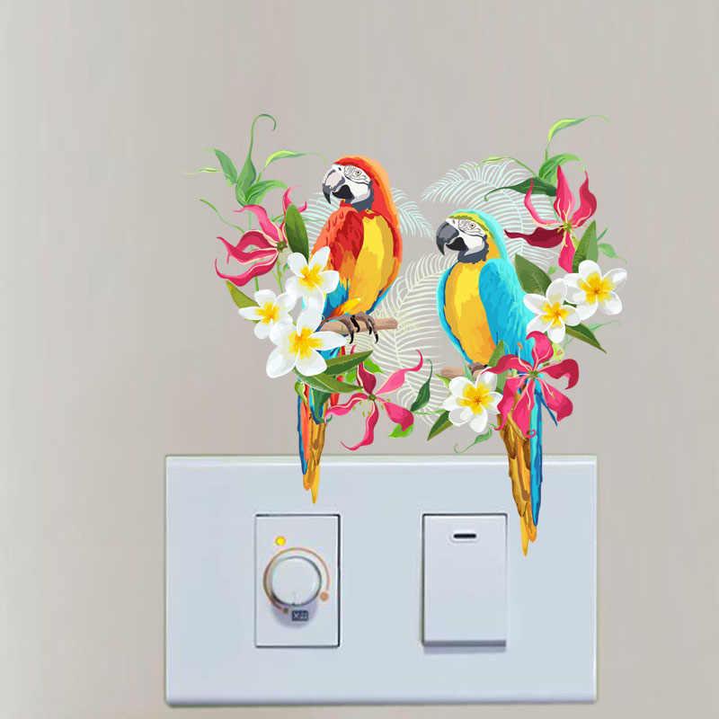 YOJA Güzel Renkli Çiçekler Papağan Oturma Odası Yatak Odası Duvar elektrik düğmesi çıkartması Kişiselleştirilmiş Dekor 10SS0131
