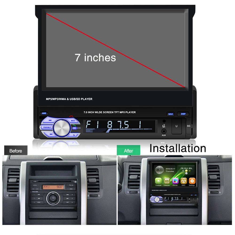 New 7 Inch Mp5 Player Touch Screen Car Retractable Mp5 Player 9601mp5 Player Car Mp4 Car Radio Reversing image