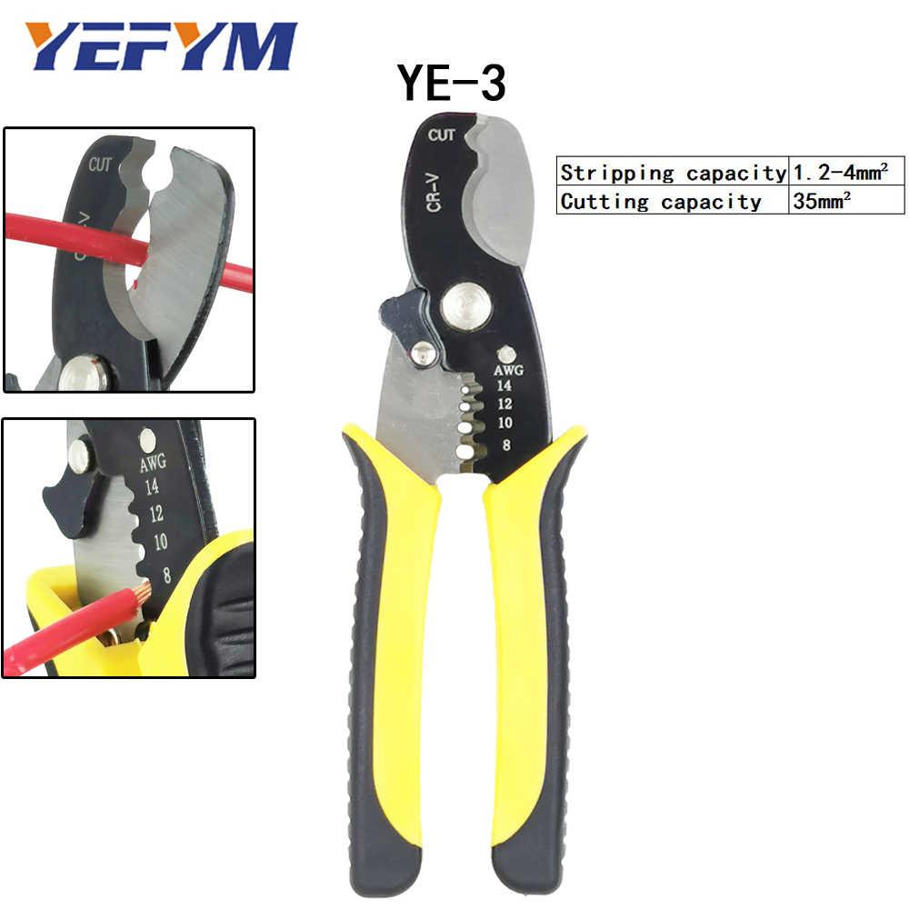Strumenti di riparazione Multi Wire Stripper Cutter Pinza Morsetto 6mm2 Funzionale Mini YEFYM In Acciaio Al Carbonio Multifunzionale Elettrico