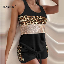 Spring Summer 2021 New Fashion Leopard Letter Print Sport Set Casual Pullover Sleeveless Streetwear Tank Tops Shorts Elegant Set