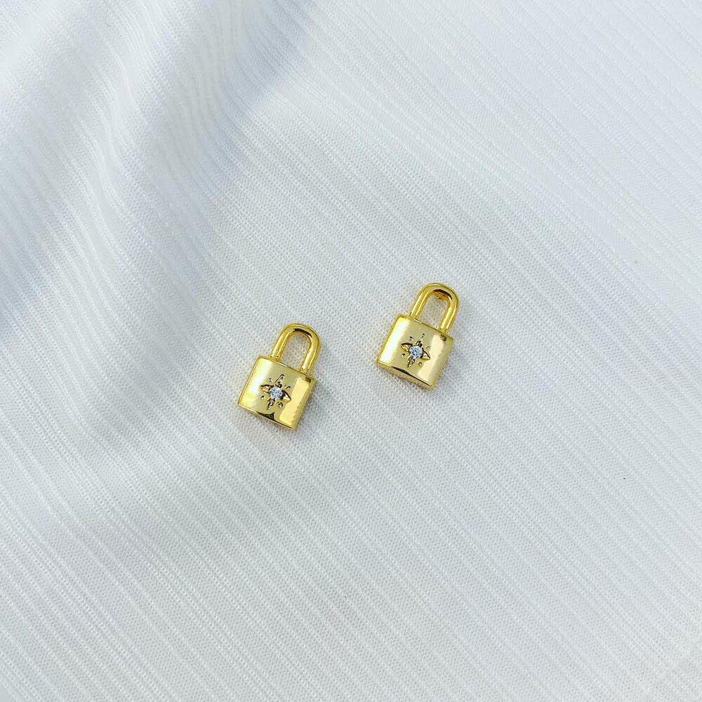 Gold Color Star Signet Lock Stud Earring Fashion European Women Jewelry Wholesale