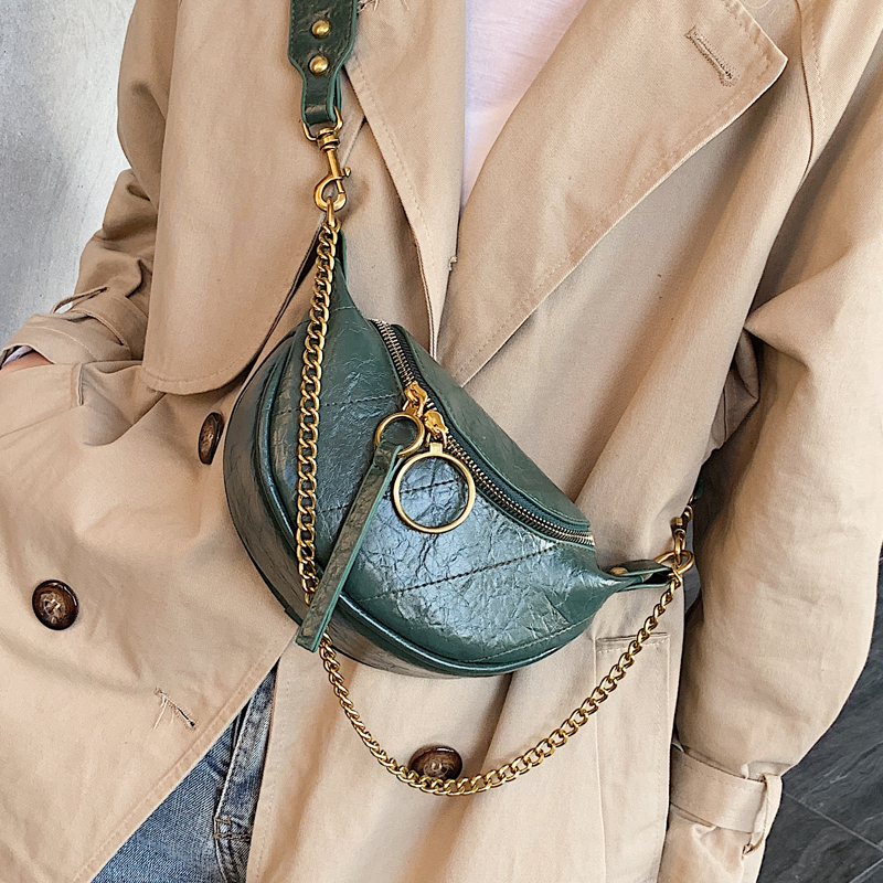 Women's Leather Waist Bag High Quality Fashion Fanny Pack Pleated Pattern New Brand Crossbody Bag Chest Bags Chain Shoulder Pack