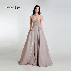 Image 4 - Limon joyce yeşil balo kıyafetleri 2020 seksi v yaka boncuk parlak Dubai gece elbisesi vestidos de gala artı boyutu