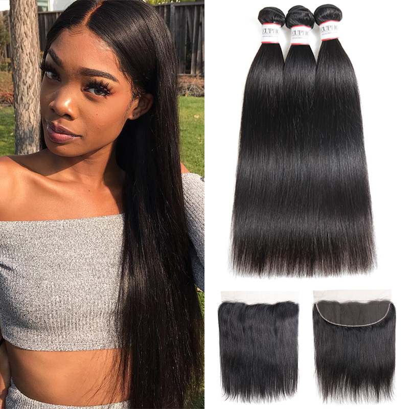 Brazilian Straight Human Hair 3 Bundles With Frontal Euphoria Natural Color 100% Remy Bundle Hair Weaving With Lace Frontal 13x4