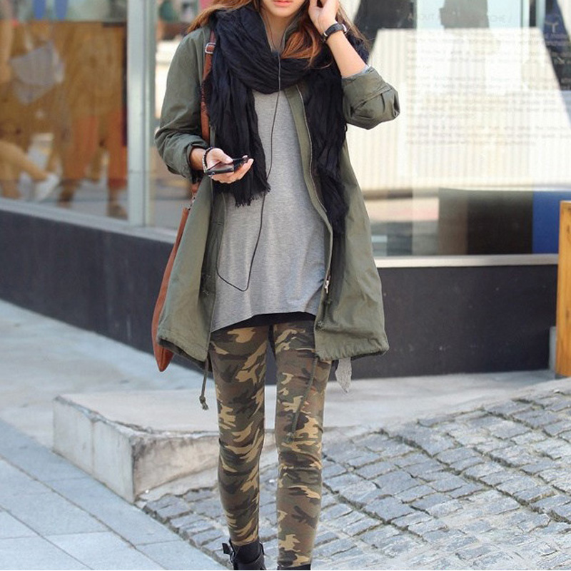 Women Legging Military Cropped  Leggings Camouflage Slim Fit Thin Fashion Autumn Female Legging