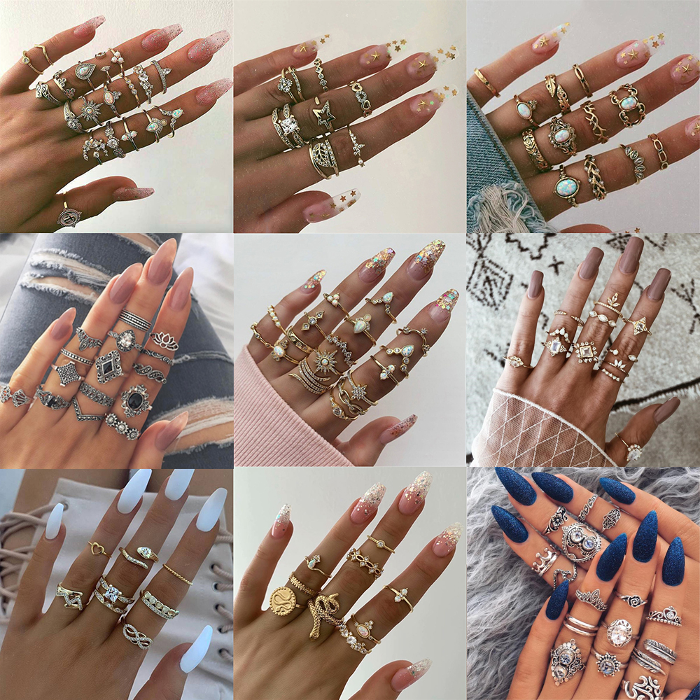 40 Styles Bohemian Gold Crown Moon Star Snake Cross Water Drops Crystal Ring Set Women Charm Joint Ring Party Wedding Jewelry(China)