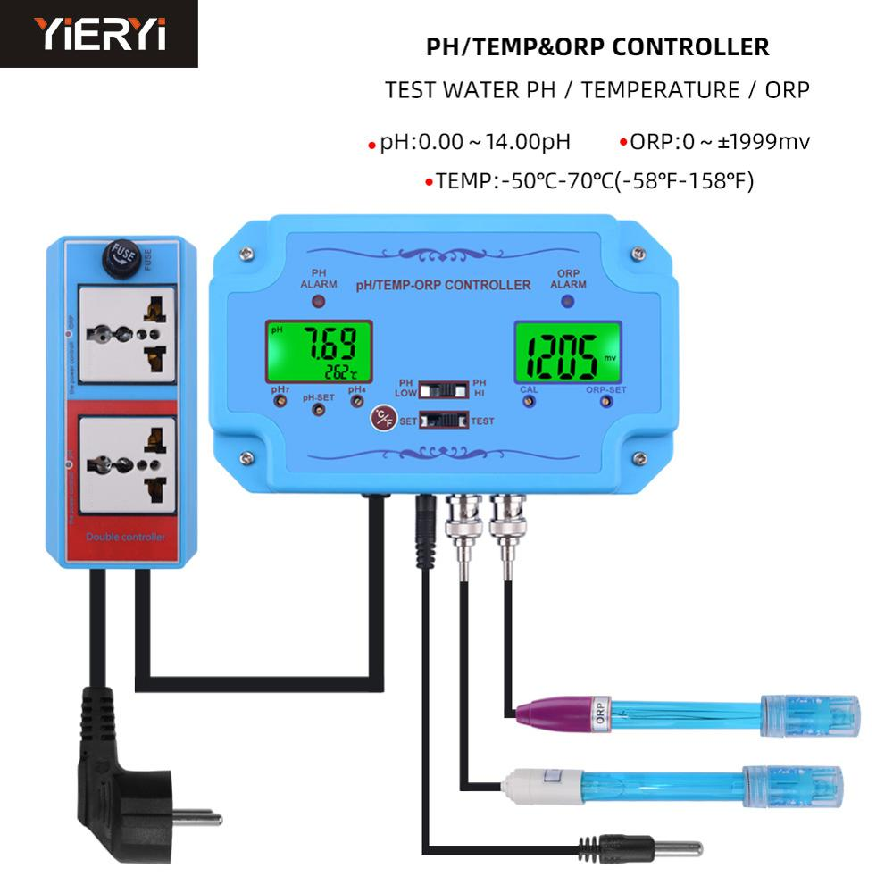 Online PH/TEMP/ORP Controller Water Quality Detector Repleaceable BNC Type Probe Water Quality Tester For Aquarium Spa Pool
