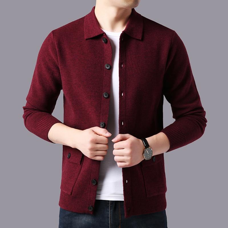 Sweater Men Streetwear Fashion Sweater Coat Men Autumn Winter Warm Cashmere Woolen Cardigan Men With Pocket