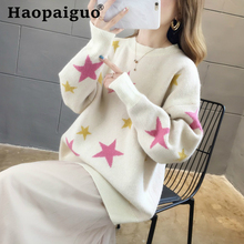 лучшая цена Print Star Pullovers 2019 Autumn Winter Women O-Neck Sweater Loose Knitted Ladies Sweater Harajuku Casual Solid White Sweater