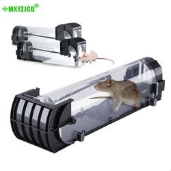 Prostokątna plastikowa pułapka na myszy stołówka magazynowa wydajna przezroczysta Rodenticide domowa nietoksyczna klatka przechwytująca w Pułapki od Dom i ogród na