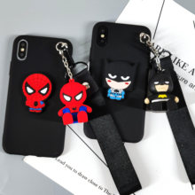 Bonito Brinquedo Cinta Do Telefone Stander Case para iphone 7 Superhero 3D 8 plus 6 6s 5S X XS Max XR batman Ironman Suave TPU Voltar Capa Fundas(China)