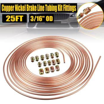 цена на 25ft 7.62m Roll Tube Coil of 3/16 OD Copper Nickel Brake Pipe Hose Line Piping Tube Tubing Anti-rust With 16PCS Tube Nuts