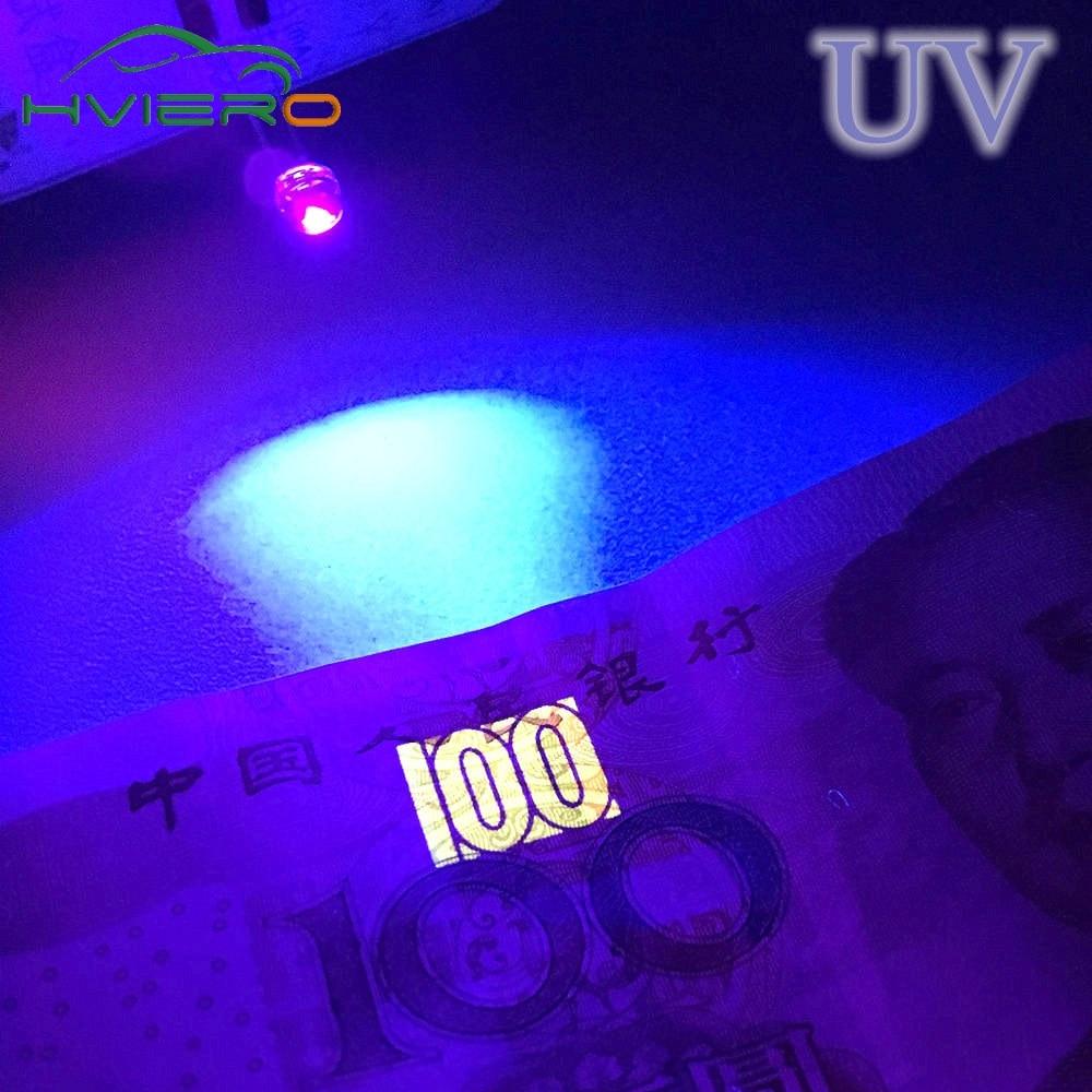100Pcs 5mm Diode Led Straw Hat UV Purple Smd Smt 3.0~3.4V 300~400MCD Led Water Clear Super Bright Wi