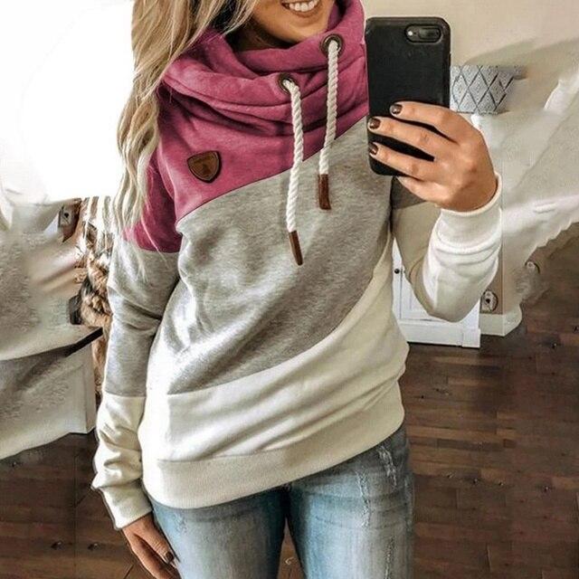 2020 Women  Autumn Winter  Gradient Patchwork Hooded Sweatshirt Women Drawstring Long Sleeve Harajuku  Pocket Hoodie Tops 5