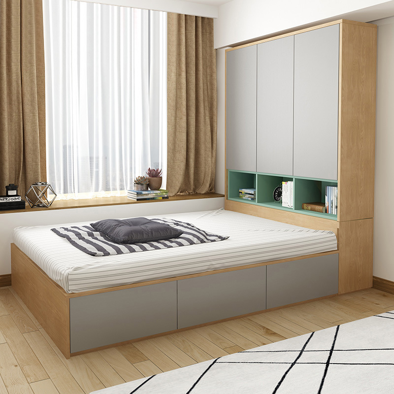 Nordic Modern Minimalist Double Bed 1.2 Meters 1.5 Meters Tatami Bed Plate Wardrobe Bed High Box Storage Bed With Closet