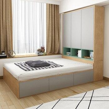 Nordic modern minimalist double bed 1 2 meters 1 5 meters tatami bed plate wardrobe bed