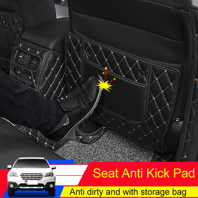 QHCP Seat Anti Kick Mat Armrest Box Anti kick Pads Protector Leather For Subaru Outback Forester Legacy 2015 2016 2017 2018 2019