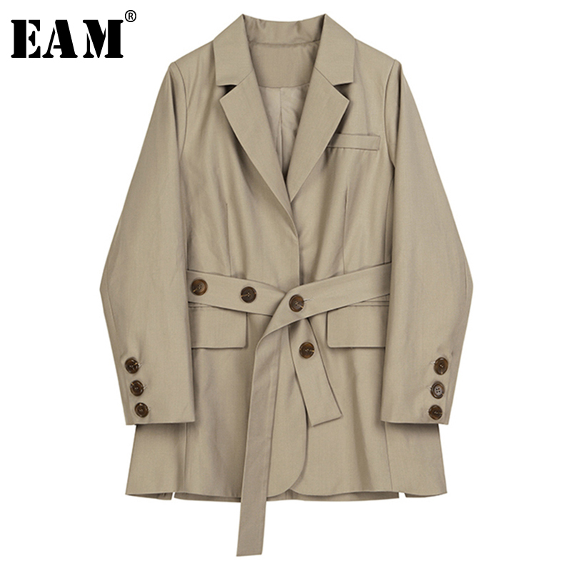 [EAM]  Women Khaki Waist Bandage Temperament Blazer New Lapel Long Sleeve Loose Fit  Jacket Fashion Spring Autumn 2020 1B484